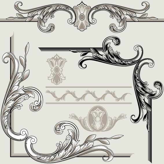 矢量素材欧式古典边角花纹图片