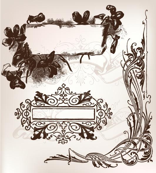 矢量欧式黑白花纹边框