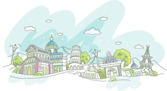 精美可爱手绘城市素材