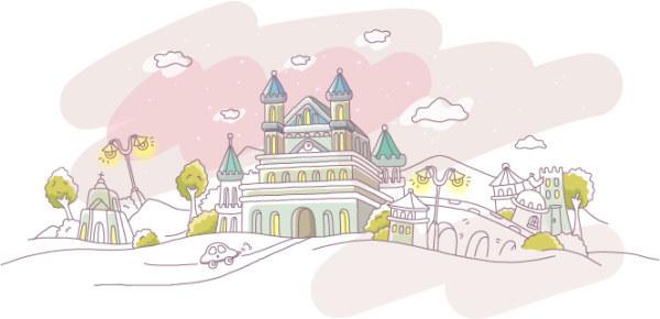 可爱手绘城堡矢量素材
