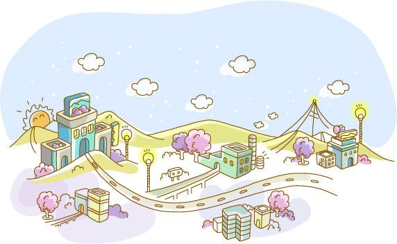 精美可爱手绘城市素材矢量图免费下载-千图网www.58.