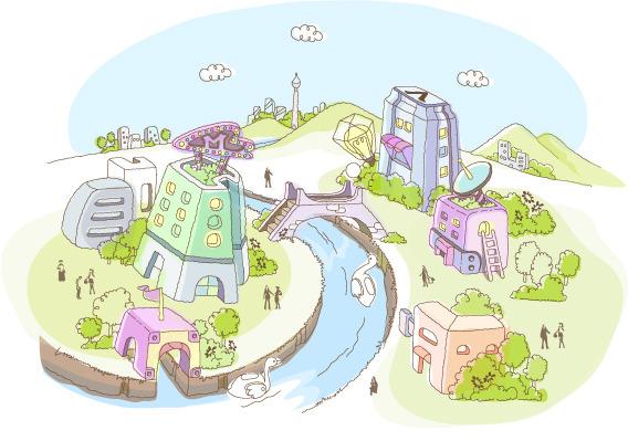 可爱手绘河边的城市矢量素材
