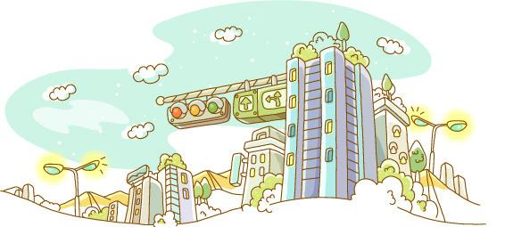 精美城市大楼手绘矢量素材