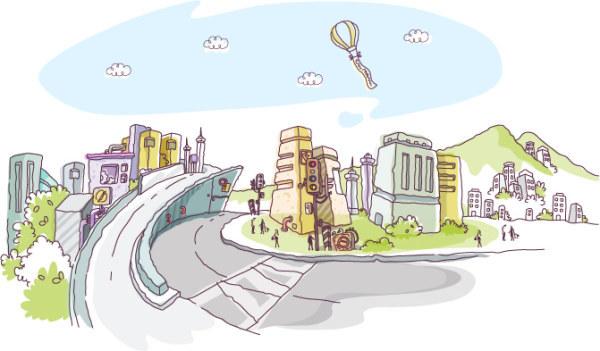 场景 城市 建筑 手绘 街景 矢量素材