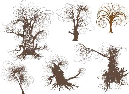 矢量手绘树木素材
