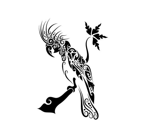 矢量手绘动物鹦鹉