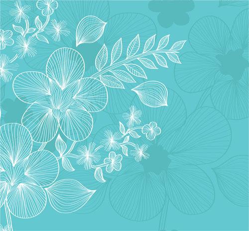 矢量素雅线条植物线描花卉