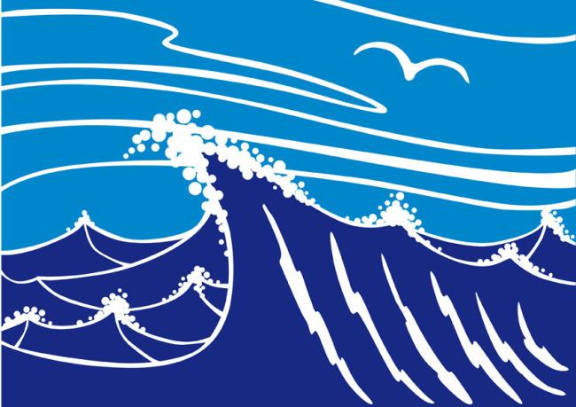 矢量素材卡通海浪背景