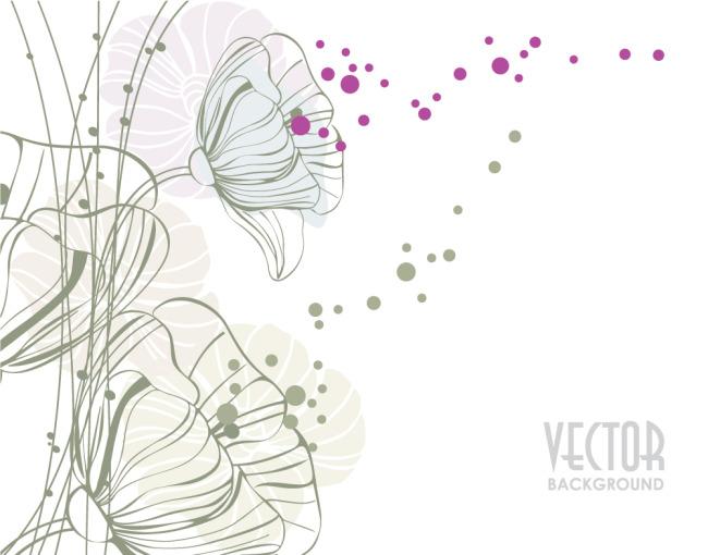 矢量素雅手绘线条花朵