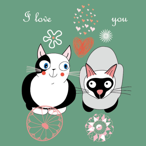 矢量卡通猫咪手绘插画
