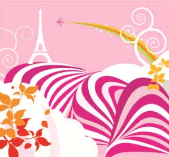 矢量波浪线条 树叶 飞机 巴黎铁塔剪影 波动 矢量素材