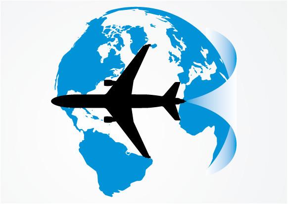 水晶地球 飞机 飞行线路 矢量素材
