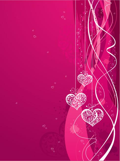 矢量浪漫心形粉色背景