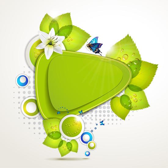 创意绿色边框花边矢量图