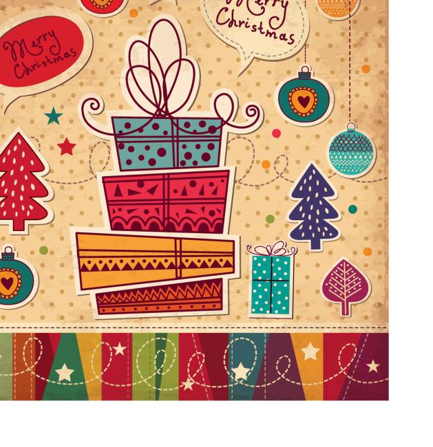 矢量复古圣诞元素手绘线条背景