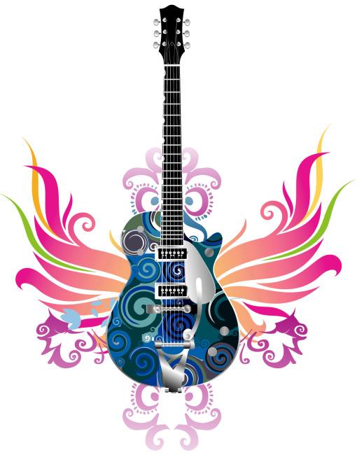 吉他彩色铅笔画