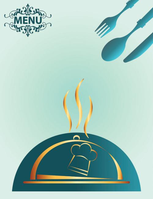 矢量手绘西餐用具素材海报