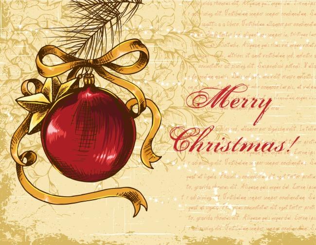 矢量圣诞复古手绘贺卡图片节日素材免费下载-千图网