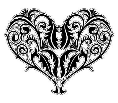 矢量黑白线条心形花纹素材