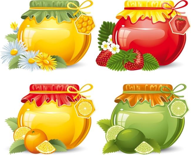 矢量彩色陶罐图片素材