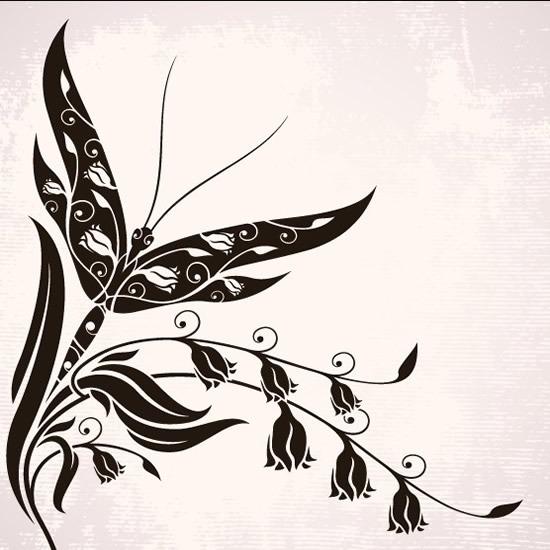 蝴蝶黑白花纹矢量图