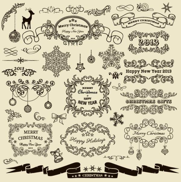 矢量复古手绘线条圣诞元素