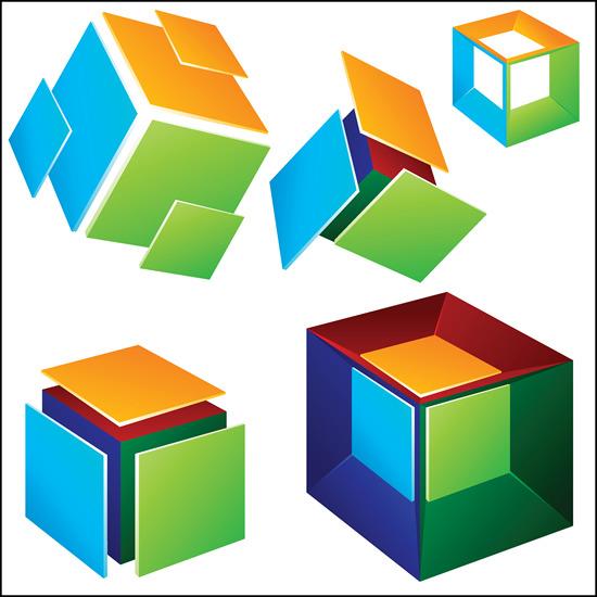 方�*�[���9h�_方块方体矢量图