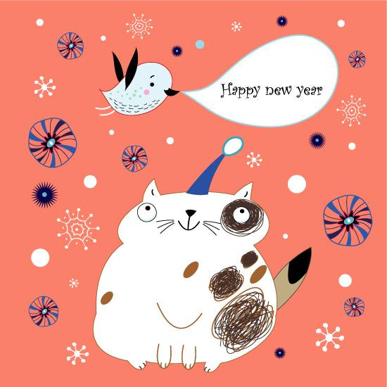 手绘线稿新年卡片矢量素材