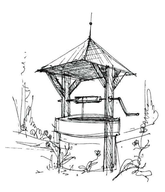 矢量亭子素描手绘稿图片