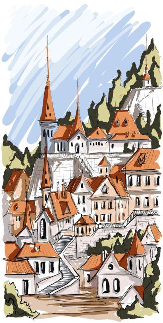 矢量素材手绘建筑群设计图片免费下载  手绘稿 草图 设计 建筑物