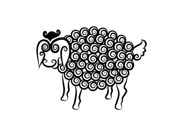 绵羊黑白花纹 刺青 纹身 线条 动物 花纹 剪影 手绘 矢量图 免费下载