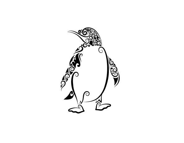 企鹅黑白花纹矢量图 刺青 纹身 线条 动物 花纹 剪影 手绘 矢量图