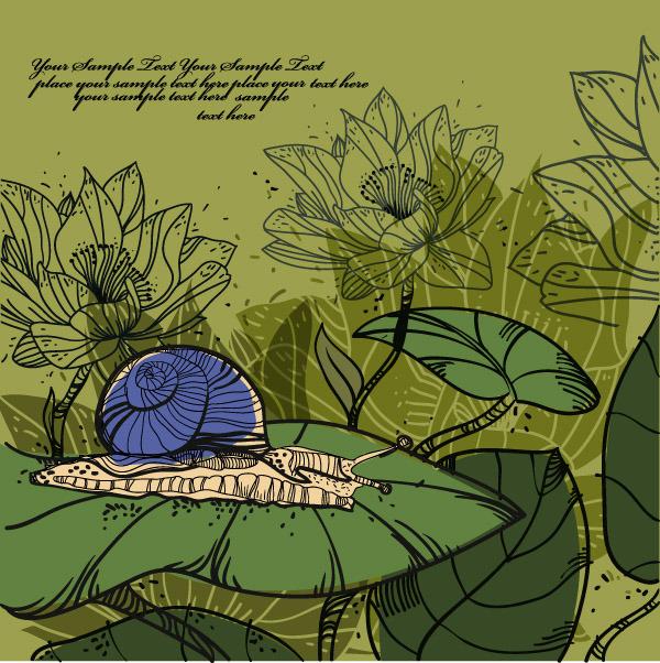 矢量素材手绘线描植物花卉图片