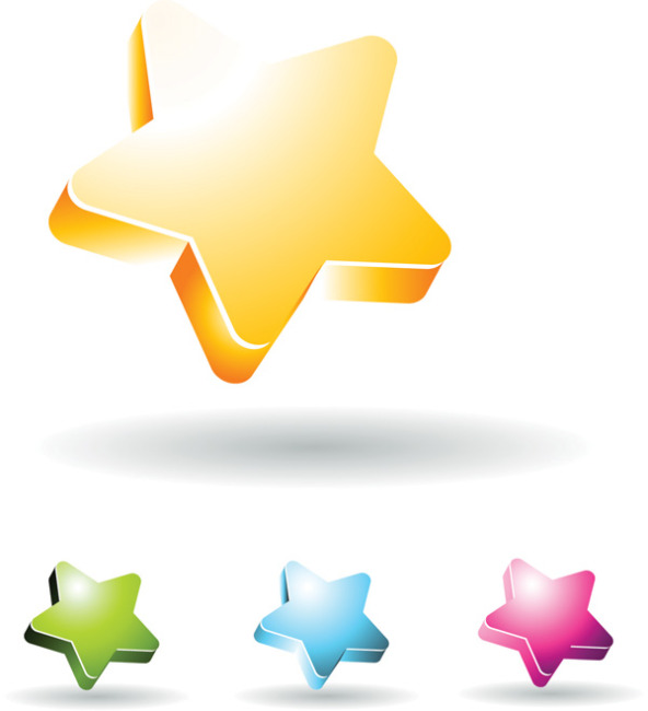 矢量立体五角星素材背景