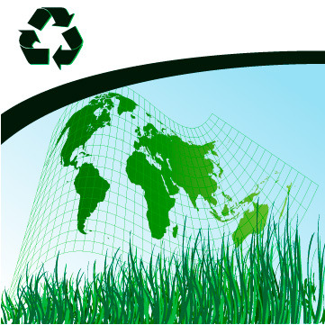 矢量绿色世界地图素材
