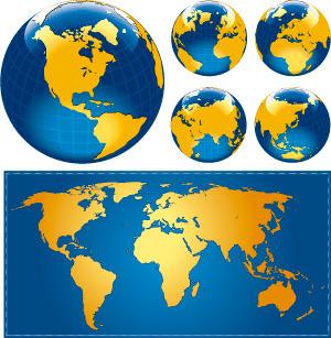 矢量素材世界地图地球图片