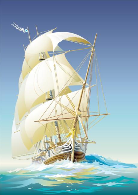 矢量手绘帆船素材图片