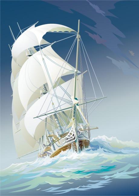 矢量手绘线稿船只图片