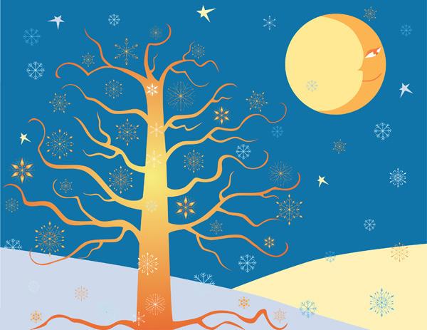 星星月亮树木矢量素材