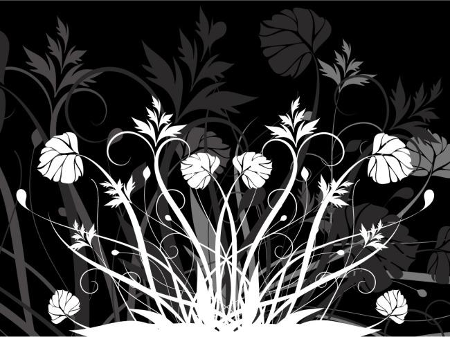矢量植物黑白剪影素材
