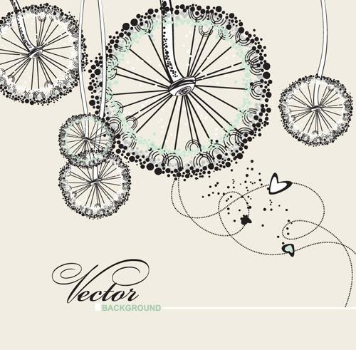 矢量圆形花朵手绘素材背景