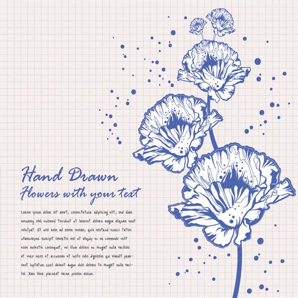 矢量手绘线稿花朵卡片背景