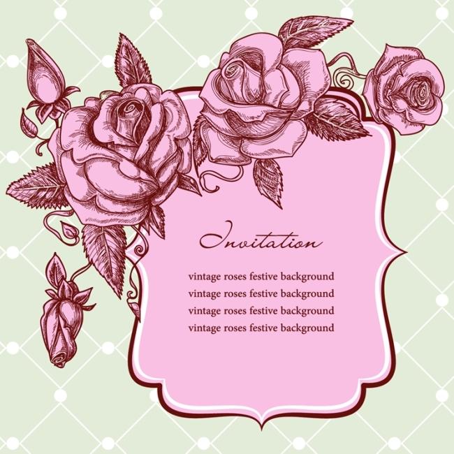 矢量手绘玫瑰花边素材背景