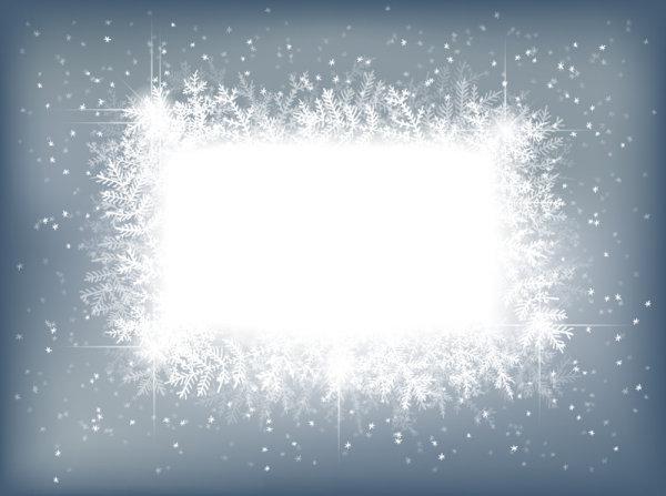 矢量卡通雪花边框素材