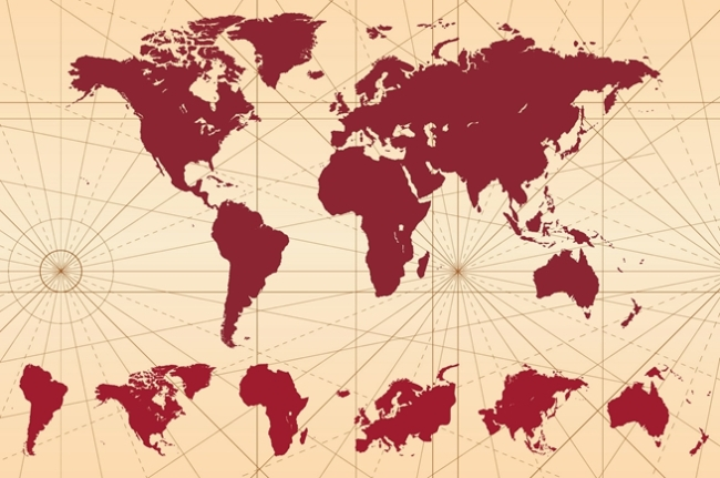 矢量复古世界地图素材