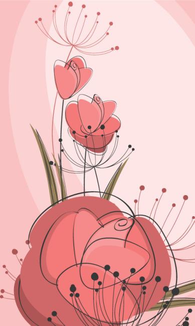矢量手绘花卉纹样素材