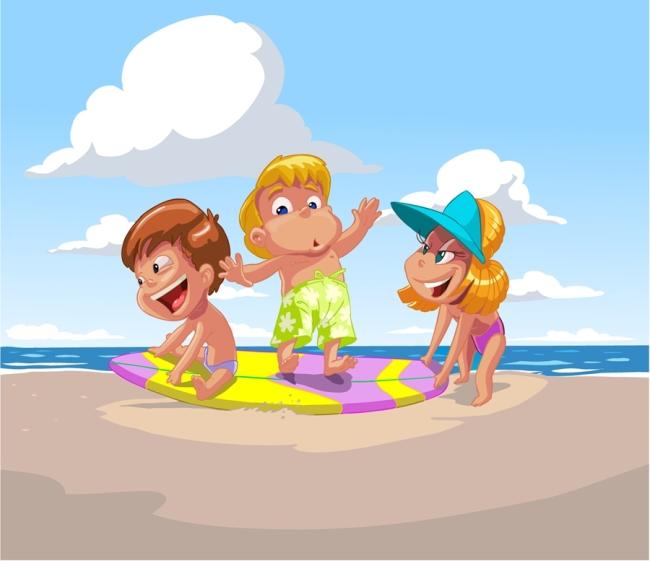 矢量儿童夏季海滩素材