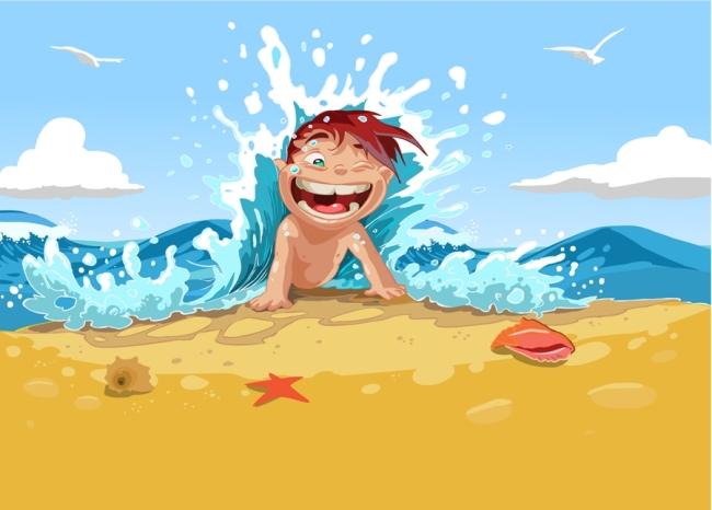 矢量卡通儿童夏季海滩背景