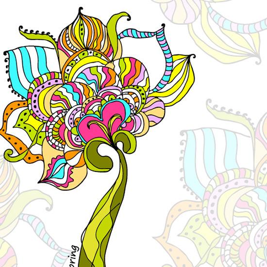 矢量莲蓬花朵手绘图案