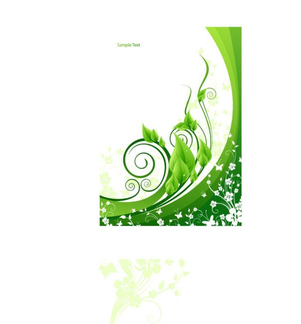 矢量绿色植物清新背景